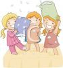 girls having a pillow fight at a sleepover or slumber party clipart
