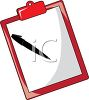 red office clipboard with pen and paper clipart