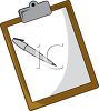 office clipboard with a piece of paper and a pen for writing clipart