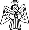 picture of a happy angel with large wings and a halo praying in a vector clip art illustration clipart