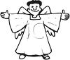 picture of an angel standing with his arms reaching out to the side in a vector clip art illustration clipart