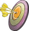 picture of a dart board with 3 darts on the bullseye in a vector clip art illustration clipart