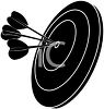 picture of a silhoutte of a dart board with darts in a vector clip art illustration clipart