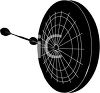 picture of a silhouette of a dartboard with darts clipart