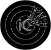 Picture of a silhouette of a dart board with darts in the bullseye in a vector clip art illustration clipart