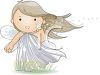 girl child blowing the seeds on a dandelion as she makes a wish clipart