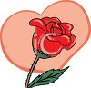 picture of a red rose on the vine with a pink heart shaped background in a vector clip art illustration clipart