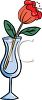 picture of a red rose with green leaves inside a tall glass in a vector clip art illustration clipart