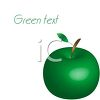 picture of a shiny green apple with a stem in a vector clip art illustration clipart