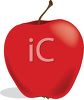 picture of a shiny red apple with a stem in a vector clip art illustration clipart