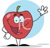 picture of an animated red apple with a face, arms, and legs in a vector clip art illustration clipart