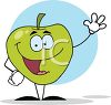 picture of an animated apple with a face, arms, and legs, in a vector clip art illustration clipart