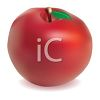 picture of a shiny red apple with a green leaf in a vector clip art illustration clipart