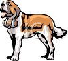 picture of a Saint Bernard dog standing with a barrel around his neck in a vector clip art illustration clipart