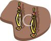 picture of a pair of gold earrings with a twirl design in a vector clip art illustration clipart