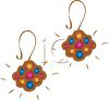 picture of a pair of brown earring with colorful spots in a vector clip art illustration clipart
