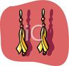 picture of a pair of gold earring with purple beads in a vector clip art illustration clipart