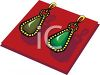 picture of a pair of gold earrings with a green stone in a vector clip art illustration clipart
