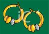picture of a pair of hoop earrings with decorative stones in a vector clip art illustration clipart