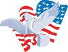 picture of an american flag with a bird flying across the front in a vector clip art illustration clipart