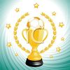 picture of a golden soccer winners cup with stars in a vector clip art illustration clipart