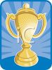 picture of a golden cup award on a blue background in a vector clip art illustration clipart