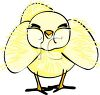 picture of a cute yellow fuzzy chick in a vector clip art illustration clipart