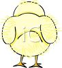 picture of the backside of cute fuzzy chicken in a vector clip art illustration clipart