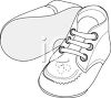Picture of a pair of white infant shoes in a vector clip art illustration clipart