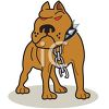 picture of a mean looking pitbull broken off of his chain in a vector clip art illustration clipart