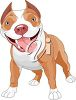 picture of a pit bull standing with eagerness with his tongue out in a vector clip art illustration clipart