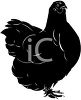 Picture of a silhouette of a rooster in a vector clip art illustration clipart