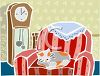 picture of a cat curled up in a chair with a grandfather clock behind it in a vector clip art illustration clipart