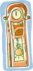 picture of a cartoon grandfather clock in a vector clip art illustration clipart