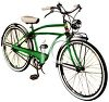 picture of a green boys 10 speed bike in a vector clip art illustration clipart