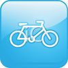 Picture of a Blue square sign with a bicycle in a vector clip art illustration clipart