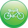 Picture of a green round sign with a bicycle in the center in a vector clip art illustration clipart