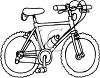 Picture of a boys bicycle in black and white in a vector clip art illustration clipart
