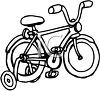 Picture of a bicycle with training wheels in black and white in a vector clip art illustration clipart
