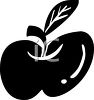 picture of a silhouette of an apple in a vector clip art illustration clipart