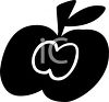 picture of a silhouette of an apple with an outline of a smaller apple in the center in a vector clip art illustration clipart