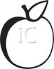 picture of an apple in black and white in a vector clip art illustration clipart