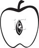 picture of an apple cut in half in a vector clip art illustration clipart