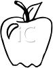 Picture of an apple with a nick out of it, in black and white in a vector clip art illustration clipart
