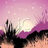 Picture of a nature scene at dusk in a vector clip art illustration clipart