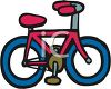 Picture of a red and blue bicycle in a vector clip art illustration clipart