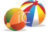 picture of two colorful beach balls in a vector clip art illustration clipart