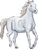 Picture of a beautiful white horse in a vector clip art illustration clipart