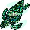 picture of a tortoise swimming in a vector clip art illustration clipart