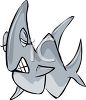 picture of a shark with it's eyes closed showing it's teeth in a vector clip art illustration clipart